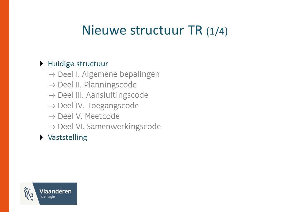 Nieuwe structuur TR (1/4) Huidige structuur Deel I.