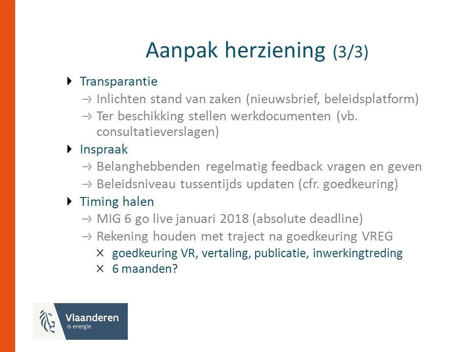 Aanpak herziening (3/3) Transparantie Inlichten stand van zaken (nieuwsbrief, beleidsplatform) Ter beschikking stellen werkdocumenten (vb.