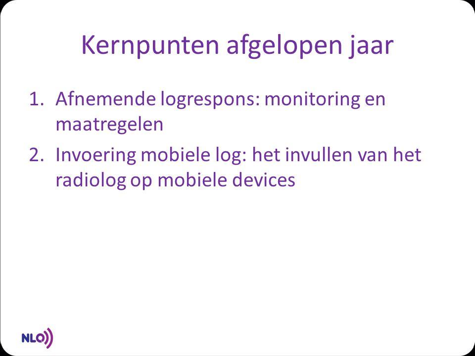 Kernpunten afgelopen jaar 1.Afnemende logrespons: monitoring en maatregelen 2.Invoering mobiele log: het invullen van het radiolog op mobiele devices