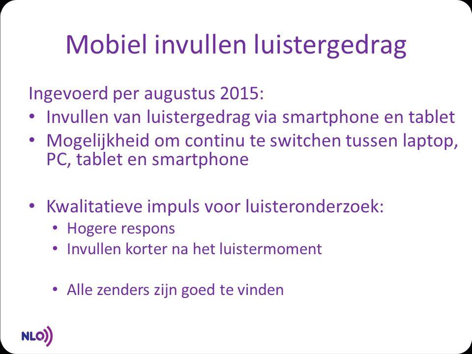 Mobiel invullen luistergedrag Ingevoerd per augustus 2015: Invullen van luistergedrag via smartphone en tablet Mogelijkheid om continu te switchen tus