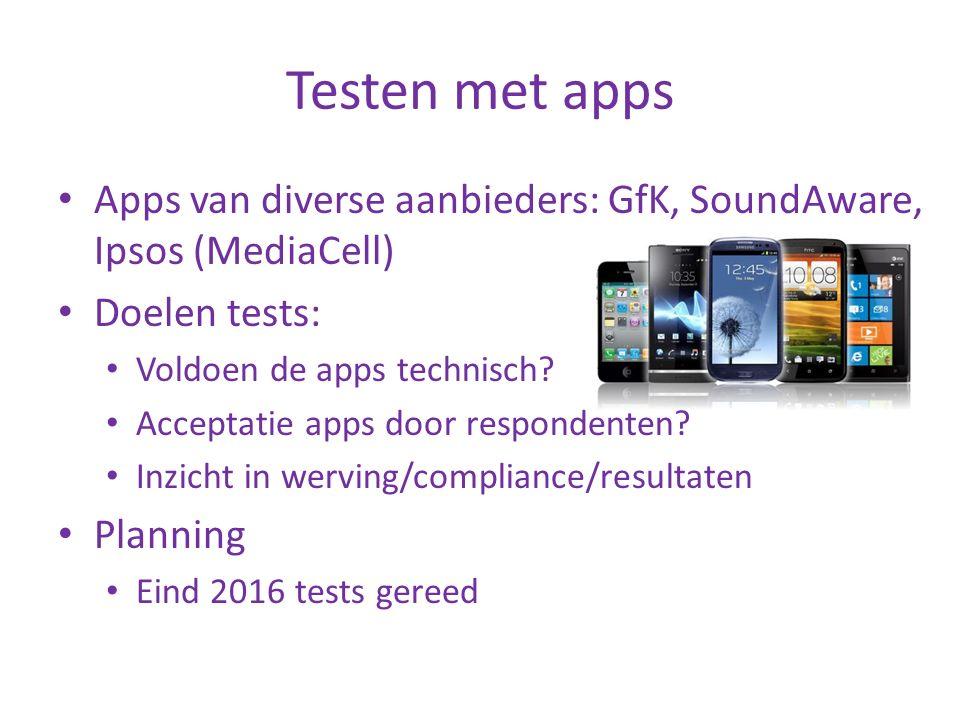 Testen met apps Apps van diverse aanbieders: GfK, SoundAware, Ipsos (MediaCell) Doelen tests: Voldoen de apps technisch? Acceptatie apps door responde