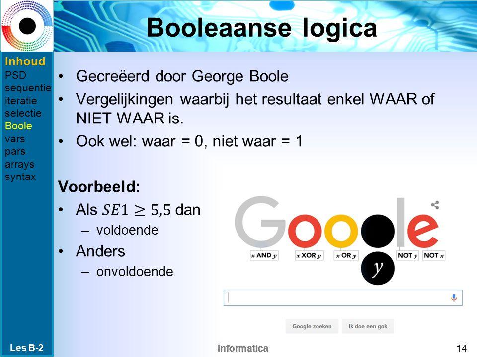informatica Booleaanse logica Les B-2 14 Inhoud PSD sequentie iteratie selectie Boole vars pars arrays syntax
