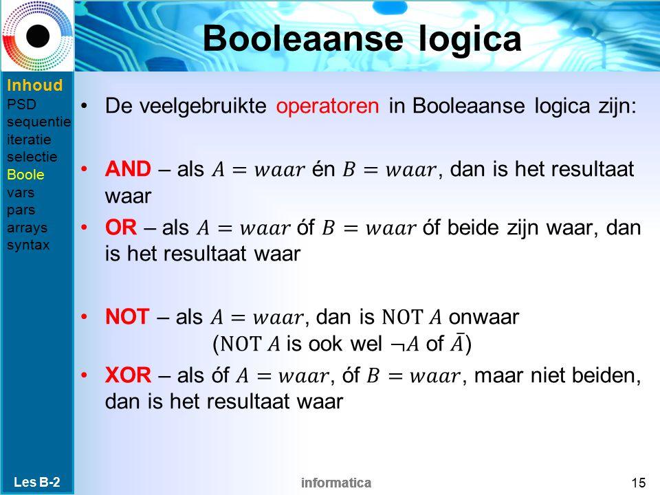 informatica Booleaanse logica Les B-2 15 Inhoud PSD sequentie iteratie selectie Boole vars pars arrays syntax