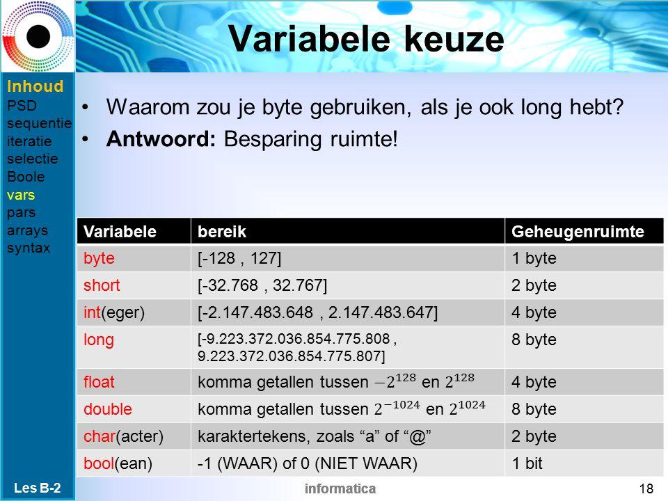 informatica Variabele keuze Waarom zou je byte gebruiken, als je ook long hebt.