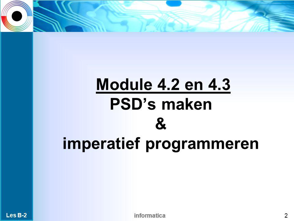 informatica Inhoud van de les Les B-2 23 Inhoud PSD sequentie iteratie selectie Boole vars pars arrays syntax Vragen.