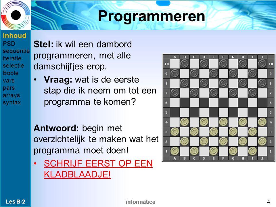 informatica Programmeren Stel: ik wil een dambord programmeren, met alle damschijfjes erop.