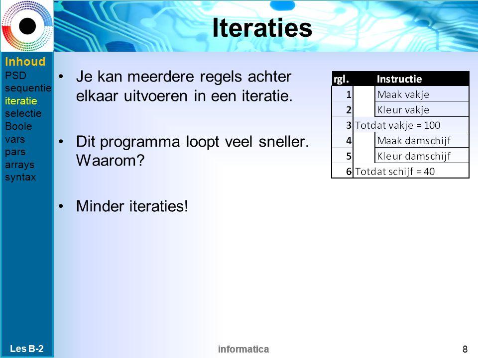 informatica Iteraties Je kan meerdere regels achter elkaar uitvoeren in een iteratie.