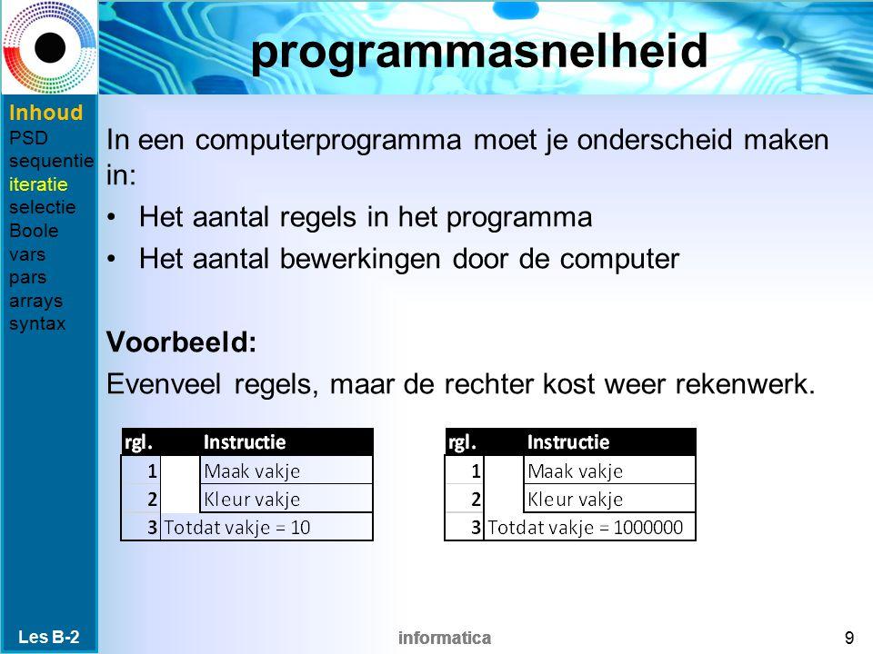 informatica programmasnelheid In een computerprogramma moet je onderscheid maken in: Het aantal regels in het programma Het aantal bewerkingen door de computer Voorbeeld: Evenveel regels, maar de rechter kost weer rekenwerk.