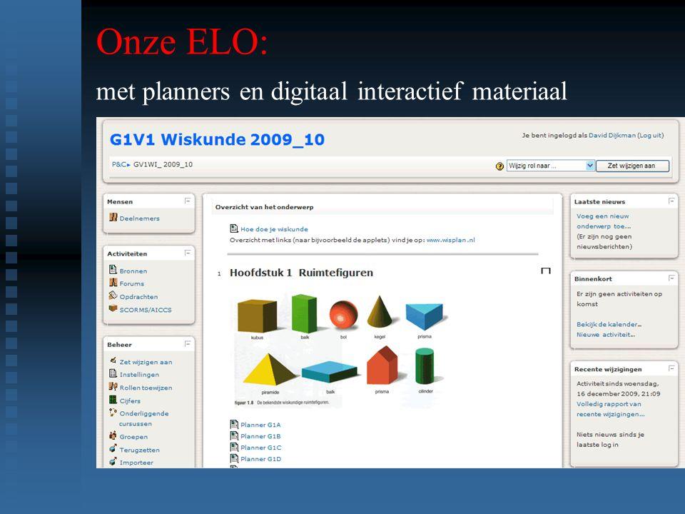 Onze ELO: met planners en digitaal interactief materiaal