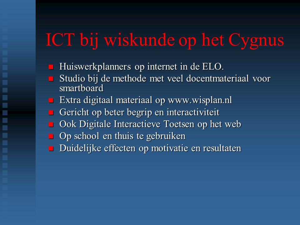 ICT bij wiskunde op het Cygnus n Huiswerkplanners op internet in de ELO.