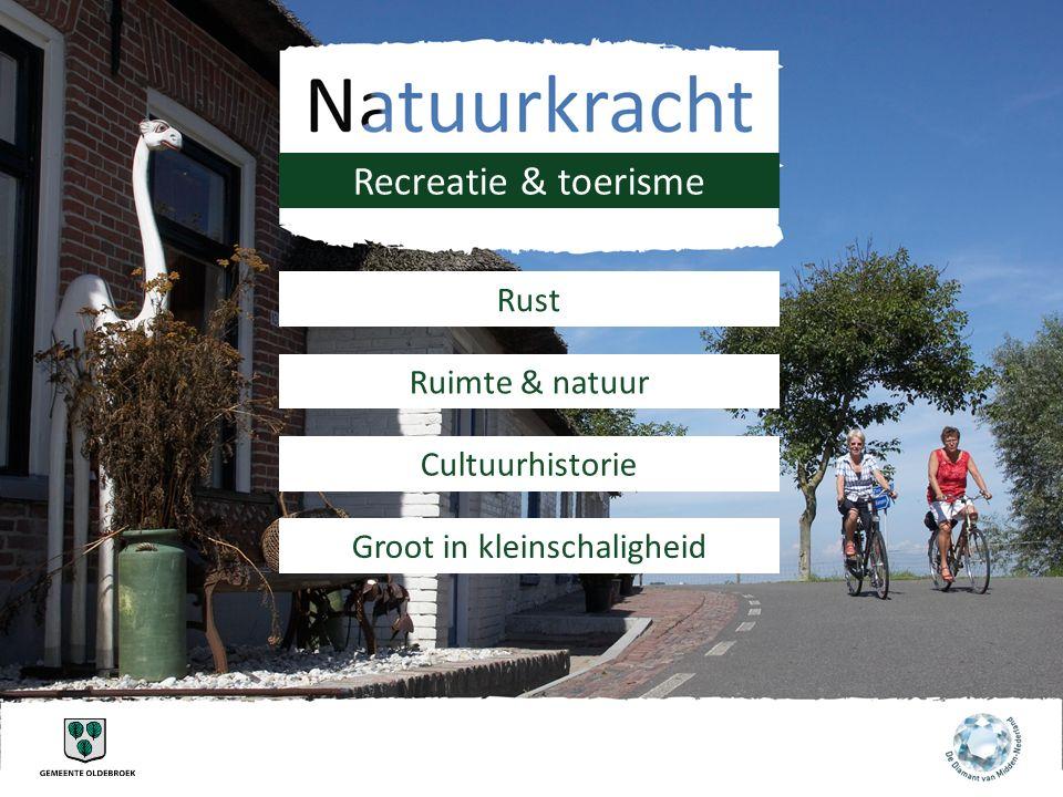 Recreatie & toerisme Rust Ruimte & natuur Cultuurhistorie Groot in kleinschaligheid