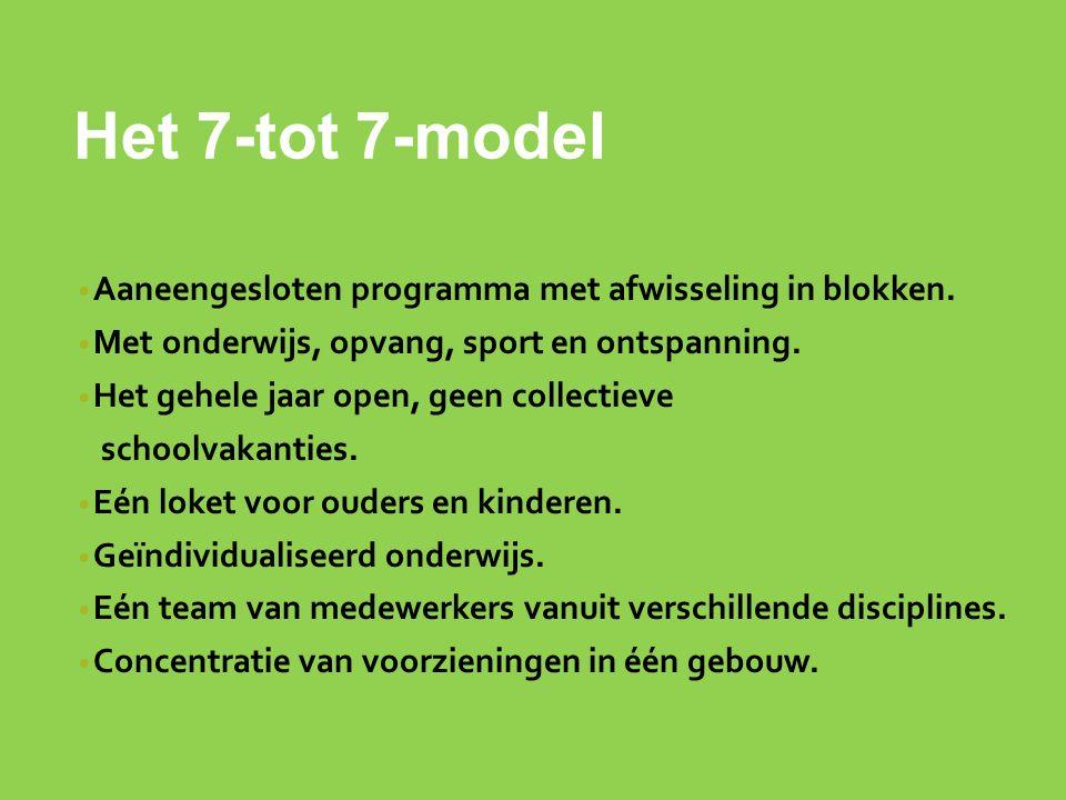 Het 7-tot 7-model Aaneengesloten programma met afwisseling in blokken.