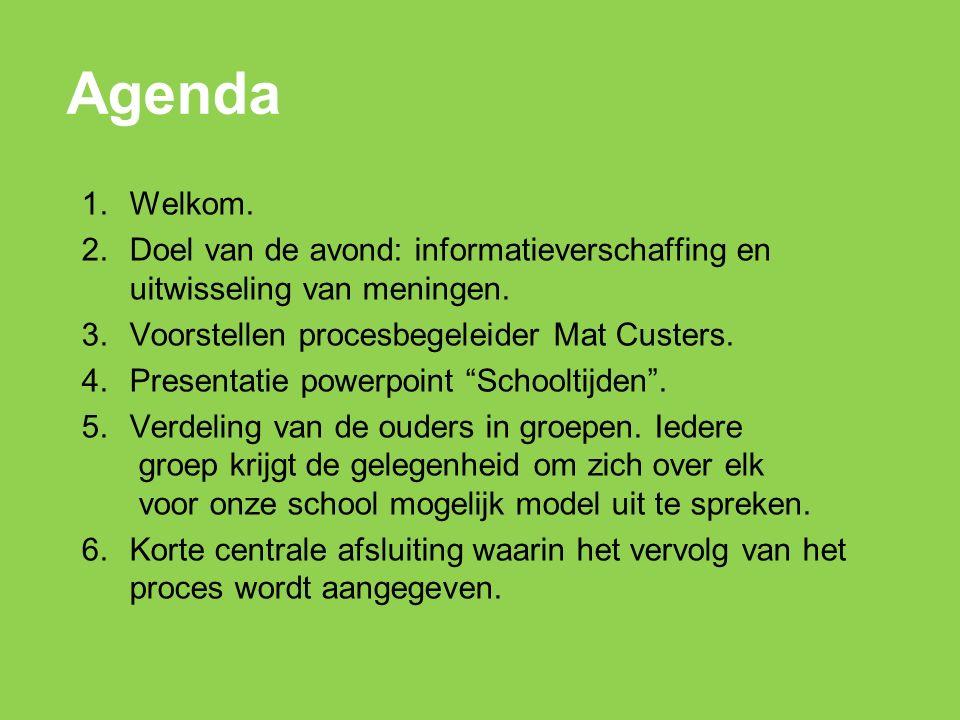 Agenda 1.Welkom. 2.Doel van de avond: informatieverschaffing en uitwisseling van meningen.