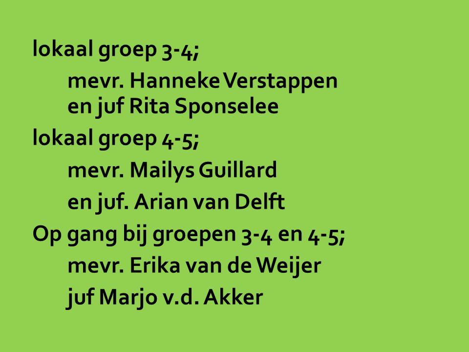 lokaal groep 3-4; mevr. Hanneke Verstappen en juf Rita Sponselee lokaal groep 4-5; mevr.