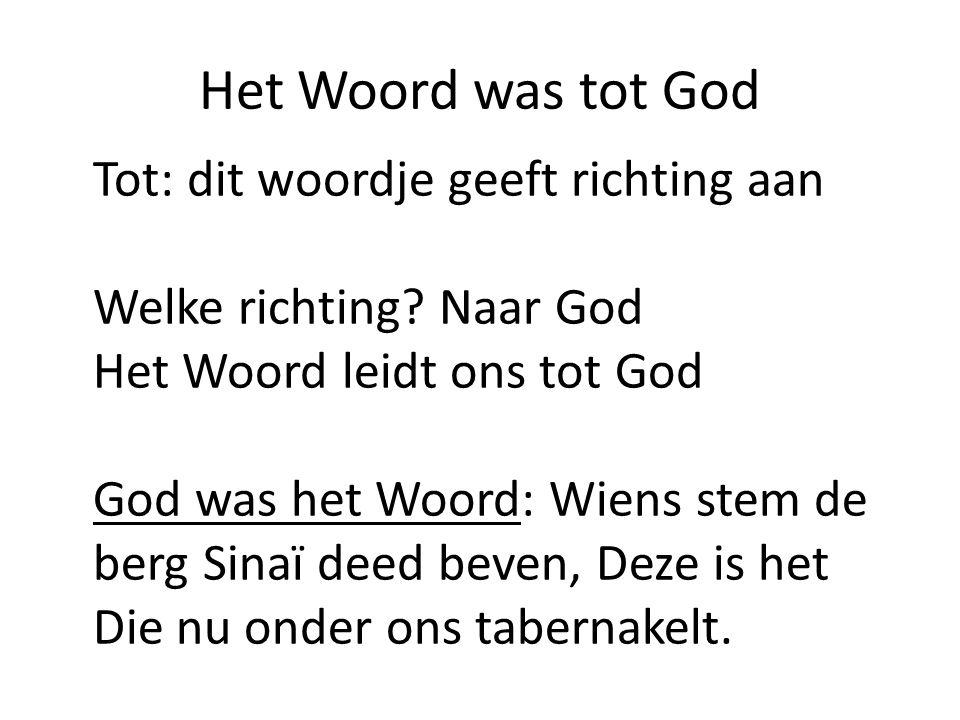Het Woord was tot God Tot: dit woordje geeft richting aan Welke richting? Naar God Het Woord leidt ons tot God God was het Woord: Wiens stem de berg S