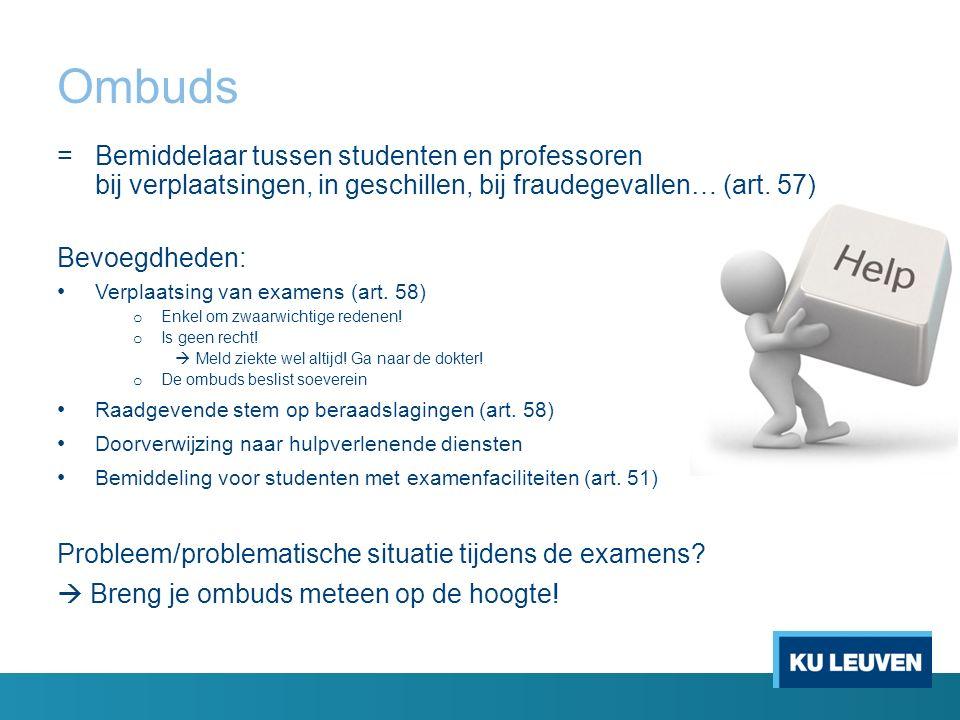 Faciliteiten of examenspreiding 16 Studenten met faciliteiten of examenspreiding  Faciliteiten / spreiding geregeld met ombuds vóór 10/12/2015 Meer info.