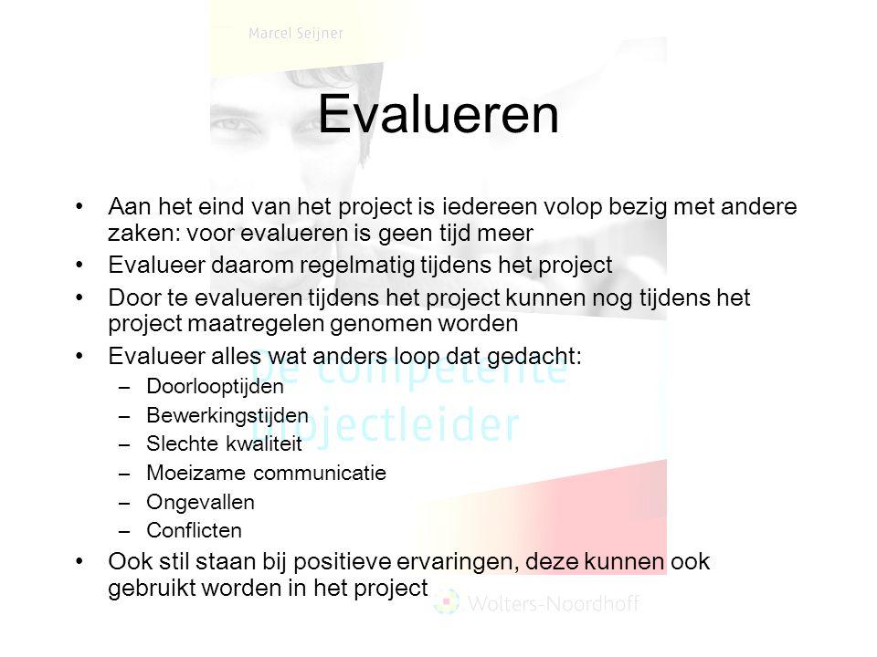 Evalueren Aan het eind van het project is iedereen volop bezig met andere zaken: voor evalueren is geen tijd meer Evalueer daarom regelmatig tijdens h