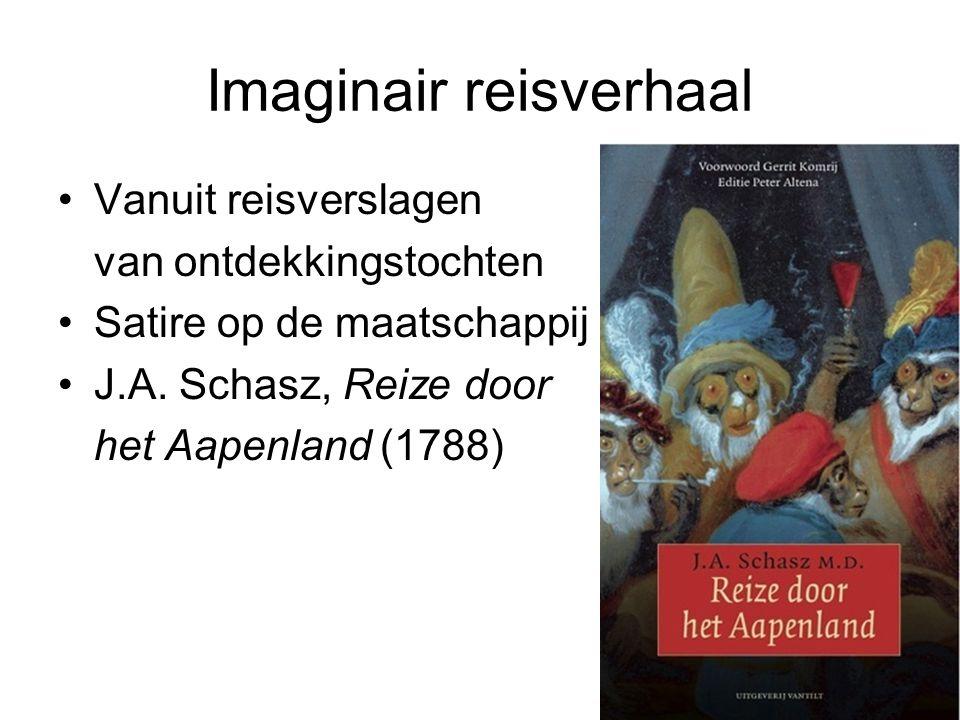 Imaginair reisverhaal Vanuit reisverslagen van ontdekkingstochten Satire op de maatschappij J.A. Schasz, Reize door het Aapenland (1788)