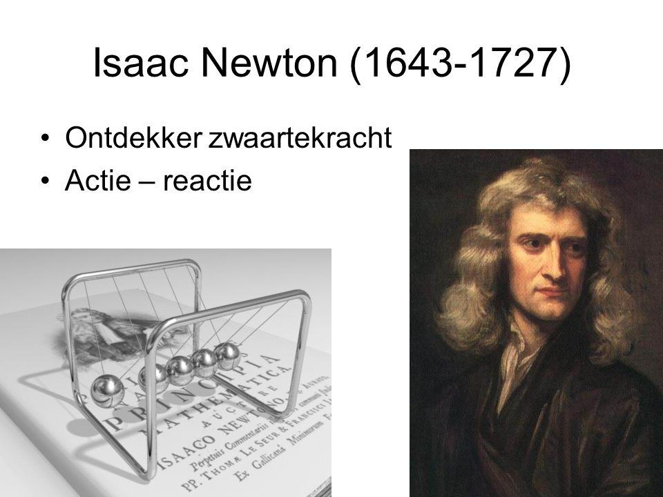 Isaac Newton (1643-1727) Ontdekker zwaartekracht Actie – reactie