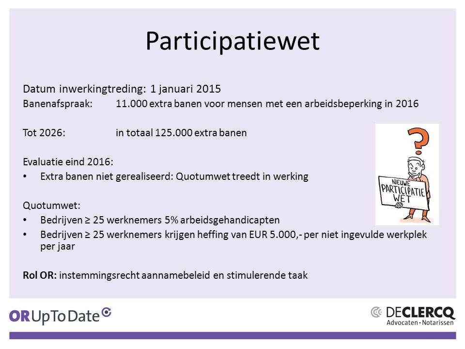 Participatiewet Datum inwerkingtreding: 1 januari 2015 Banenafspraak:11.000 extra banen voor mensen met een arbeidsbeperking in 2016 Tot 2026:in totaa