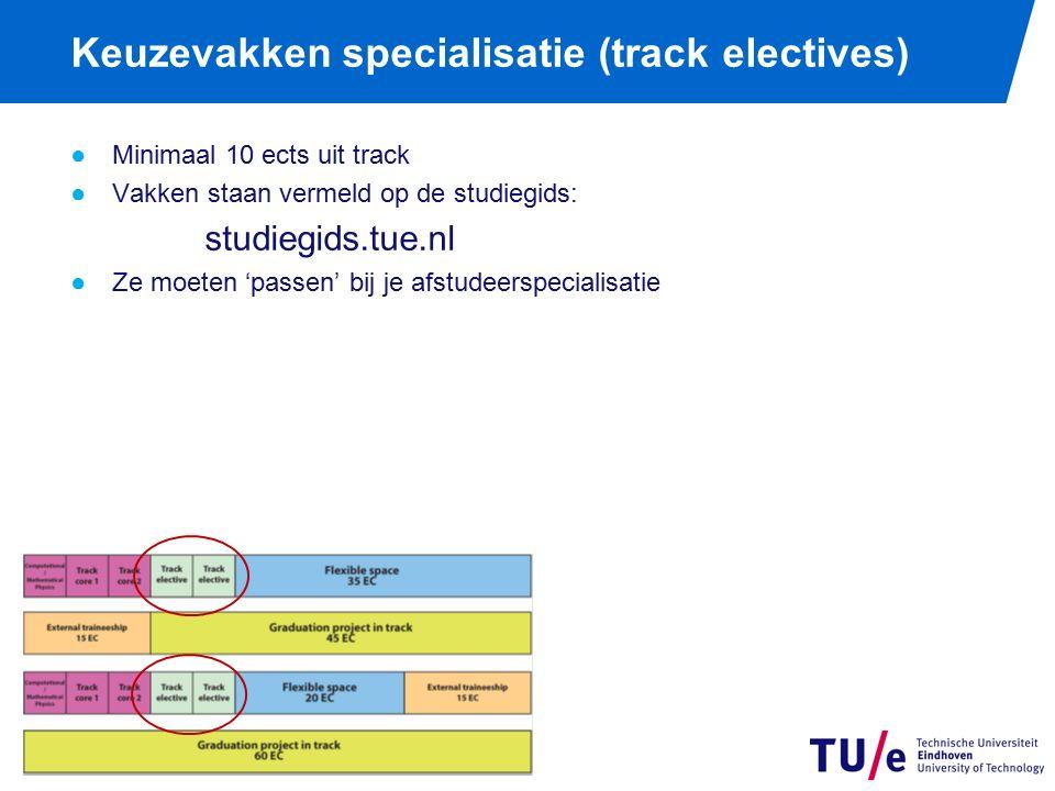 Keuzevakken specialisatie (track electives) ●Minimaal 10 ects uit track ●Vakken staan vermeld op de studiegids: studiegids.tue.nl ●Ze moeten 'passen' bij je afstudeerspecialisatie