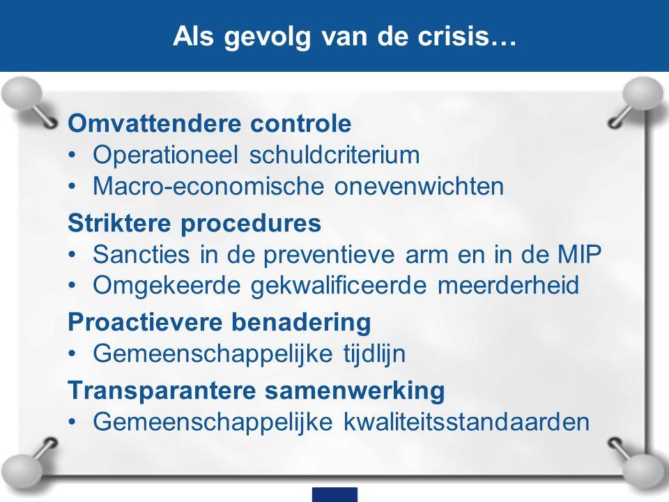 Omvattendere controle Operationeel schuldcriterium Macro-economische onevenwichten Striktere procedures Sancties in de preventieve arm en in de MIP Om