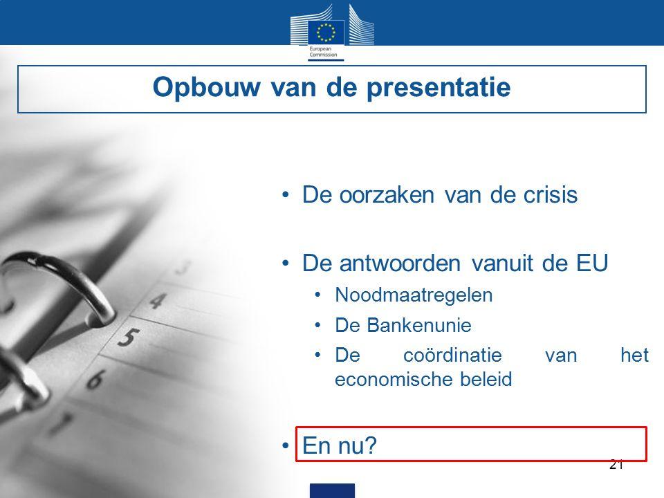 21 De oorzaken van de crisis De antwoorden vanuit de EU Noodmaatregelen De Bankenunie De coördinatie van het economische beleid En nu.