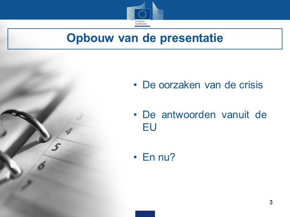 3 De oorzaken van de crisis De antwoorden vanuit de EU En nu Opbouw van de presentatie