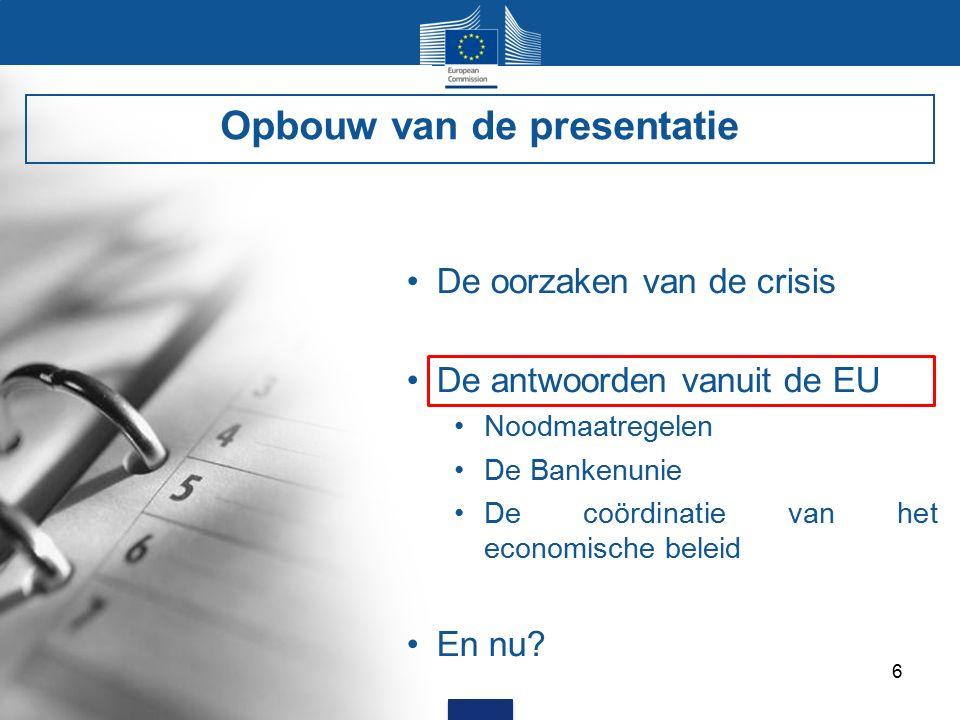 6 De oorzaken van de crisis De antwoorden vanuit de EU Noodmaatregelen De Bankenunie De coördinatie van het economische beleid En nu.