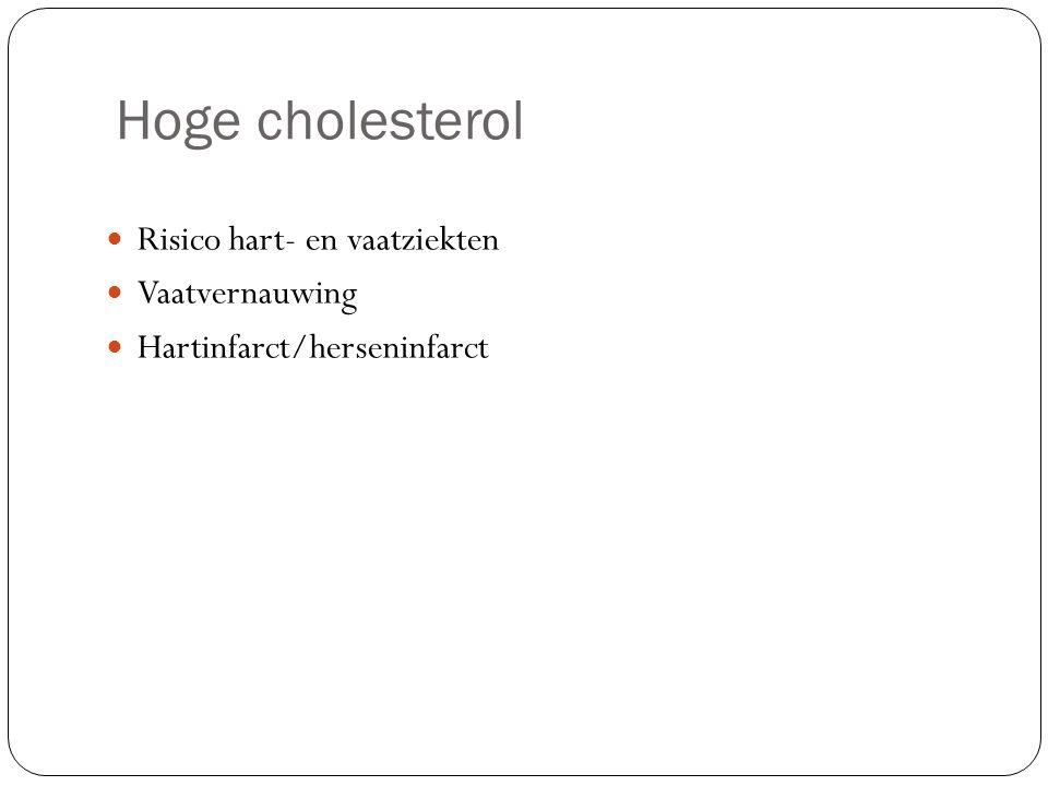 Hoge cholesterol Risico hart- en vaatziekten Vaatvernauwing Hartinfarct/herseninfarct