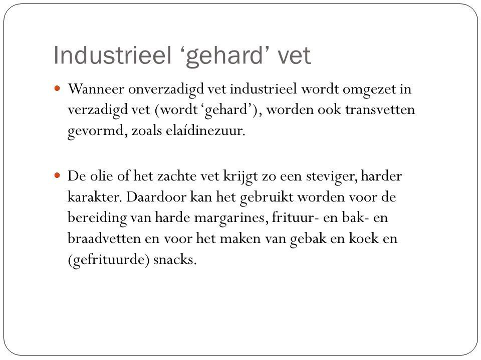 Industrieel 'gehard' vet Wanneer onverzadigd vet industrieel wordt omgezet in verzadigd vet (wordt 'gehard'), worden ook transvetten gevormd, zoals el