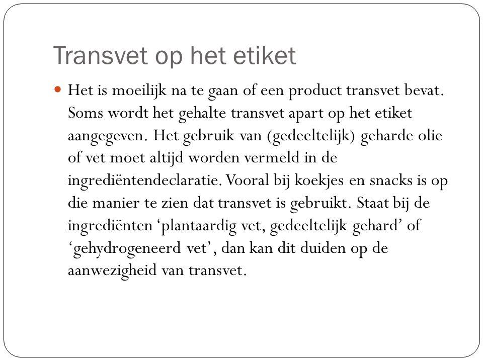 Transvet op het etiket Het is moeilijk na te gaan of een product transvet bevat. Soms wordt het gehalte transvet apart op het etiket aangegeven. Het g