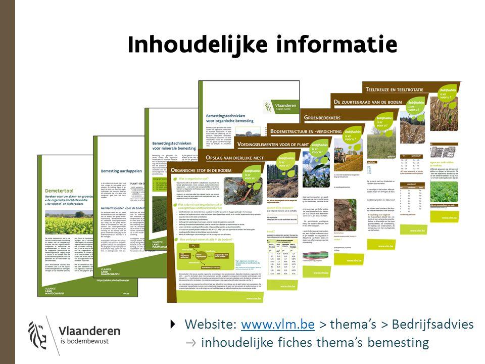 Inhoudelijke informatie Website: www.vlm.be > thema's > Bedrijfsadvieswww.vlm.be inhoudelijke fiches thema's bemesting