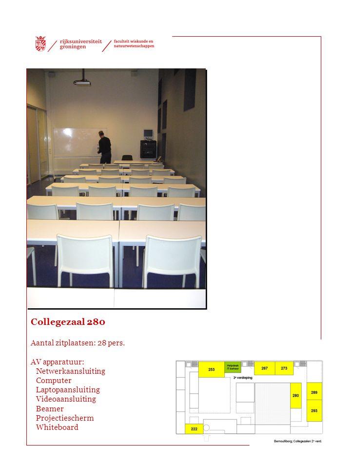 Collegezaal 280 Aantal zitplaatsen: 28 pers.