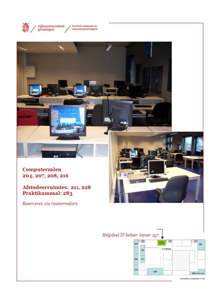 Computerzalen 204, 207, 208, 216 Afstudeerruimtes: 211, 228 Praktikumzaal: 283 Reserveren via roostermakers Helpdesk IT-beheer kamer 257