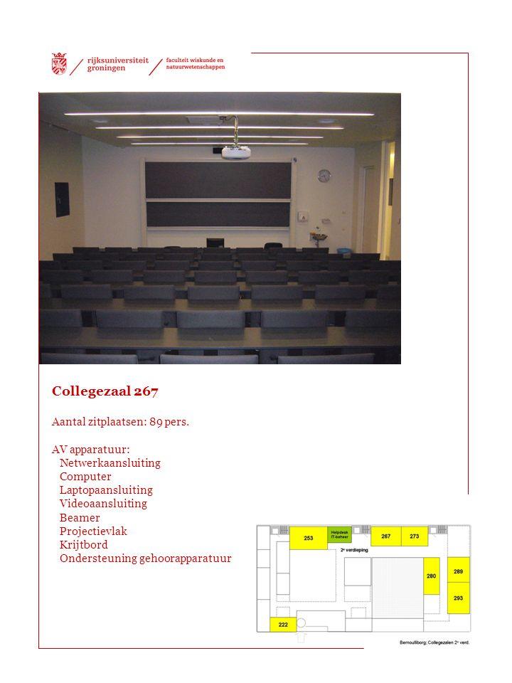 Collegezaal 267 Aantal zitplaatsen: 89 pers.
