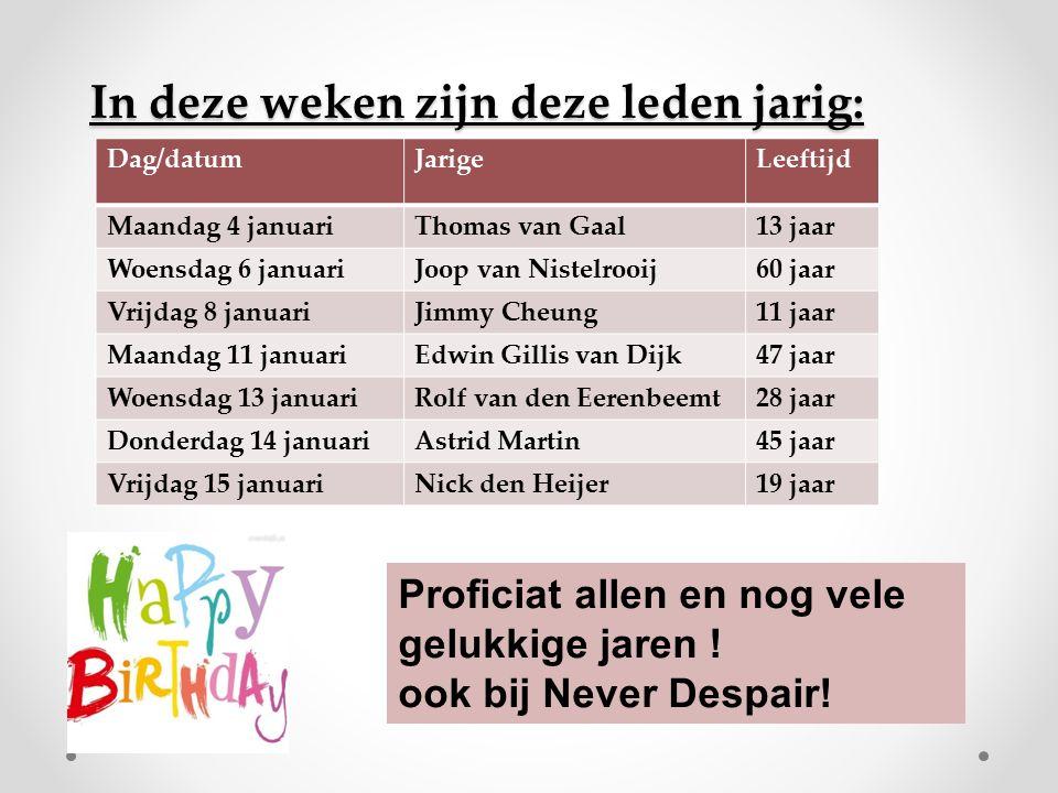 In deze weken zijn deze leden jarig: Dag/datumJarigeLeeftijd Maandag 4 januariThomas van Gaal13 jaar Woensdag 6 januariJoop van Nistelrooij60 jaar Vri