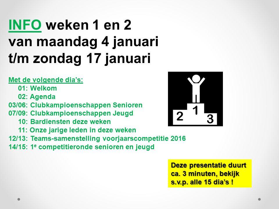 INFO weken 1 en 2 van maandag 4 januari t/m zondag 17 januari Met de volgende dia's: 01: Welkom 02: Agenda 03/06: Clubkampioenschappen Senioren 07/09: