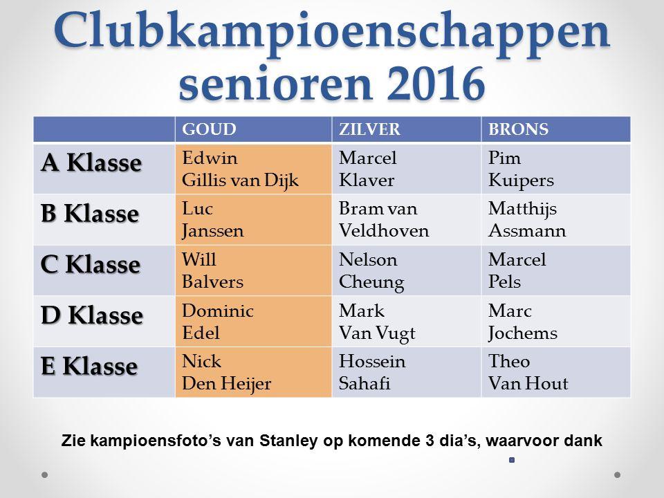 Clubkampioenschappen senioren 2016 GOUDZILVERBRONS A Klasse Edwin Gillis van Dijk Marcel Klaver Pim Kuipers B Klasse Luc Janssen Bram van Veldhoven Ma