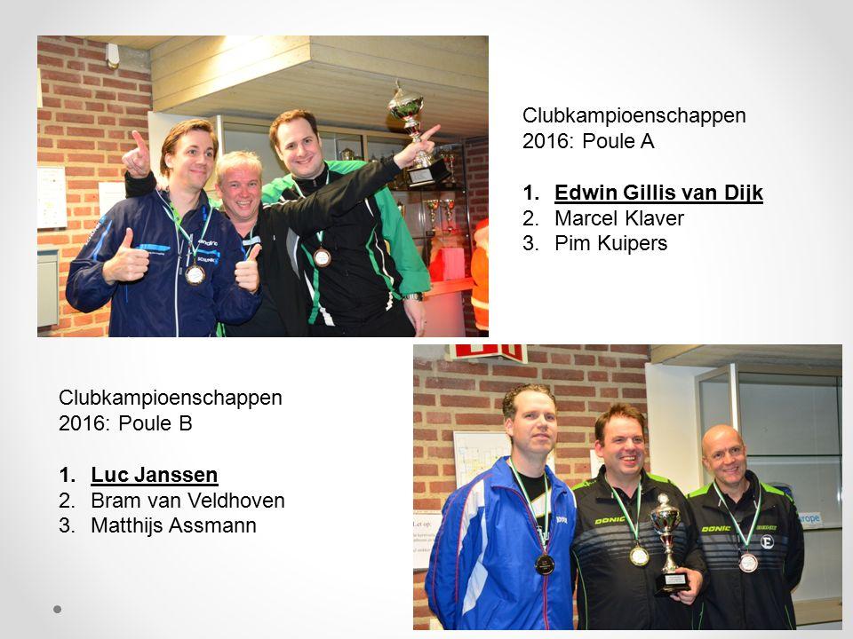 Clubkampioenschappen 2016: Poule A 1.Edwin Gillis van Dijk 2.Marcel Klaver 3.Pim Kuipers Clubkampioenschappen 2016: Poule B 1.Luc Janssen 2.Bram van V