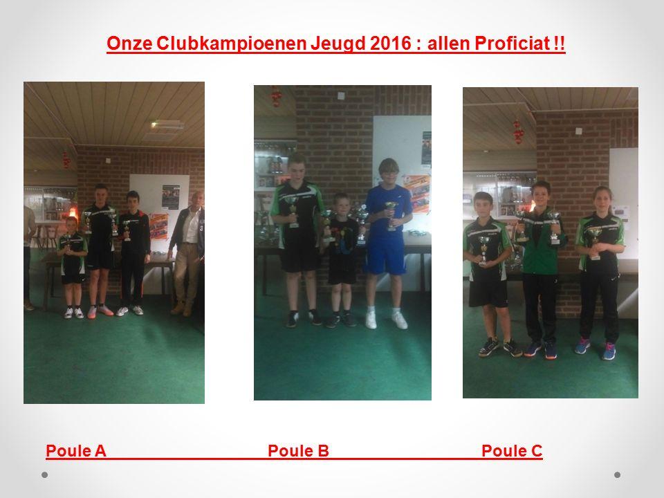 Onze Clubkampioenen Jeugd 2016 : allen Proficiat !! Poule A Poule B Poule C