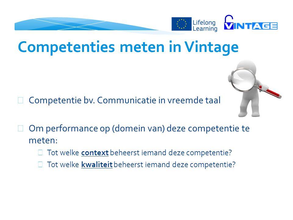  Competentie bv. Communicatie in vreemde taal  Om performance op (domein van) deze competentie te meten:  Tot welke context beheerst iemand deze co