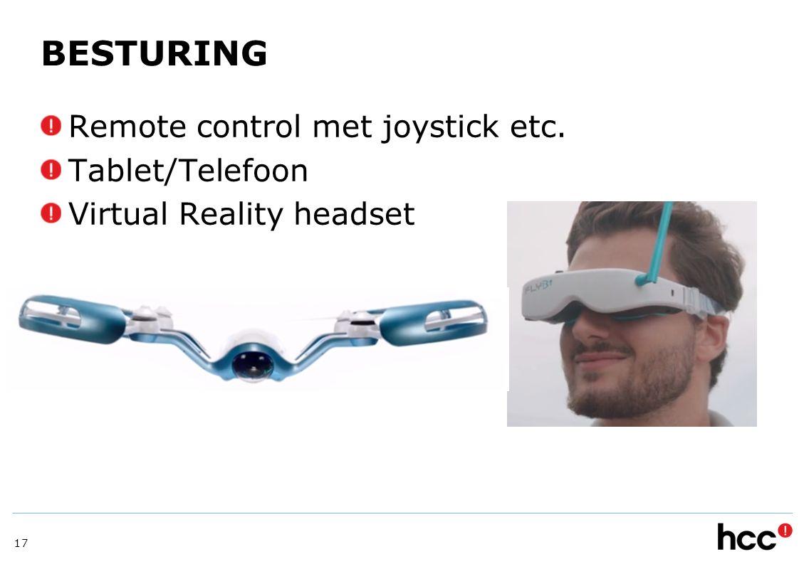 BESTURING Remote control met joystick etc. Tablet/Telefoon Virtual Reality headset 17