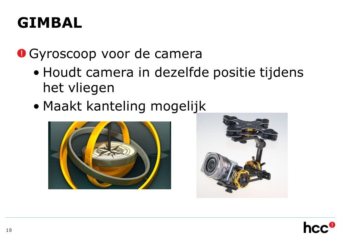 GIMBAL Gyroscoop voor de camera Houdt camera in dezelfde positie tijdens het vliegen Maakt kanteling mogelijk 18