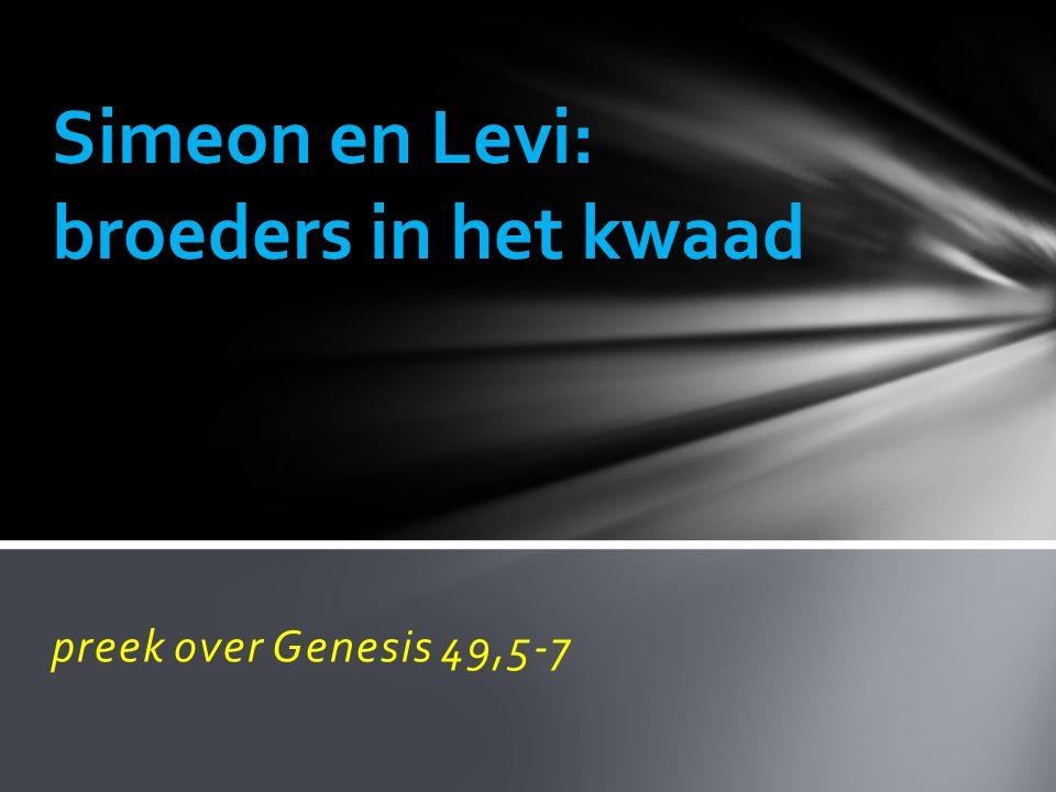 preek over Genesis 49,5-7 Simeon en Levi: broeders in het kwaad