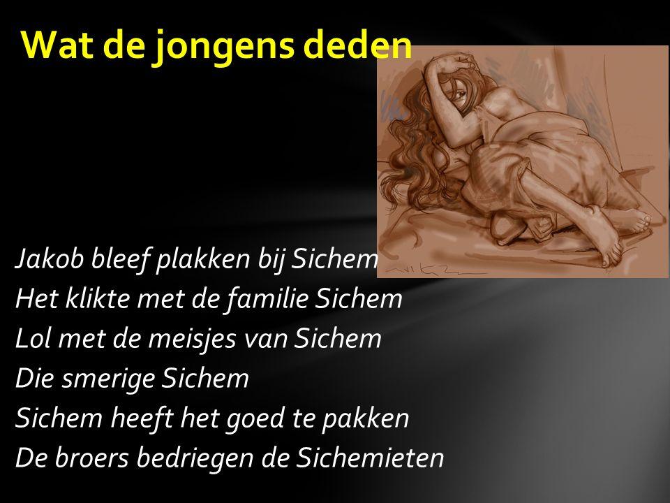 Jakob bleef plakken bij Sichem Het klikte met de familie Sichem Lol met de meisjes van Sichem Die smerige Sichem Sichem heeft het goed te pakken De broers bedriegen de Sichemieten Wat de jongens deden