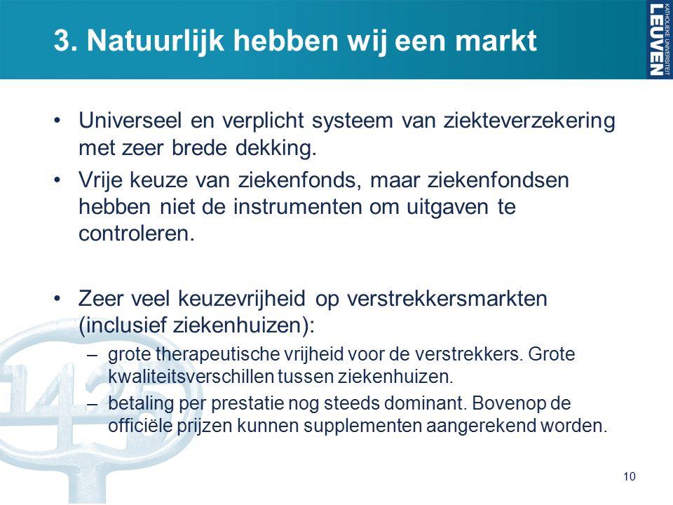 3. Natuurlijk hebben wij een markt Universeel en verplicht systeem van ziekteverzekering met zeer brede dekking. Vrije keuze van ziekenfonds, maar zie