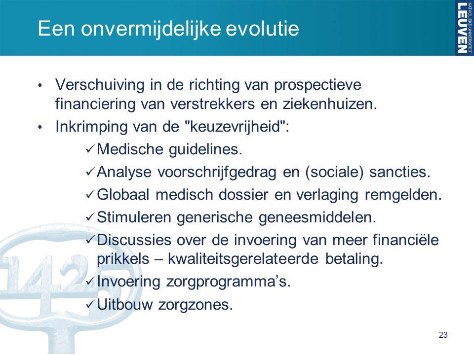 Een onvermijdelijke evolutie Verschuiving in de richting van prospectieve financiering van verstrekkers en ziekenhuizen.