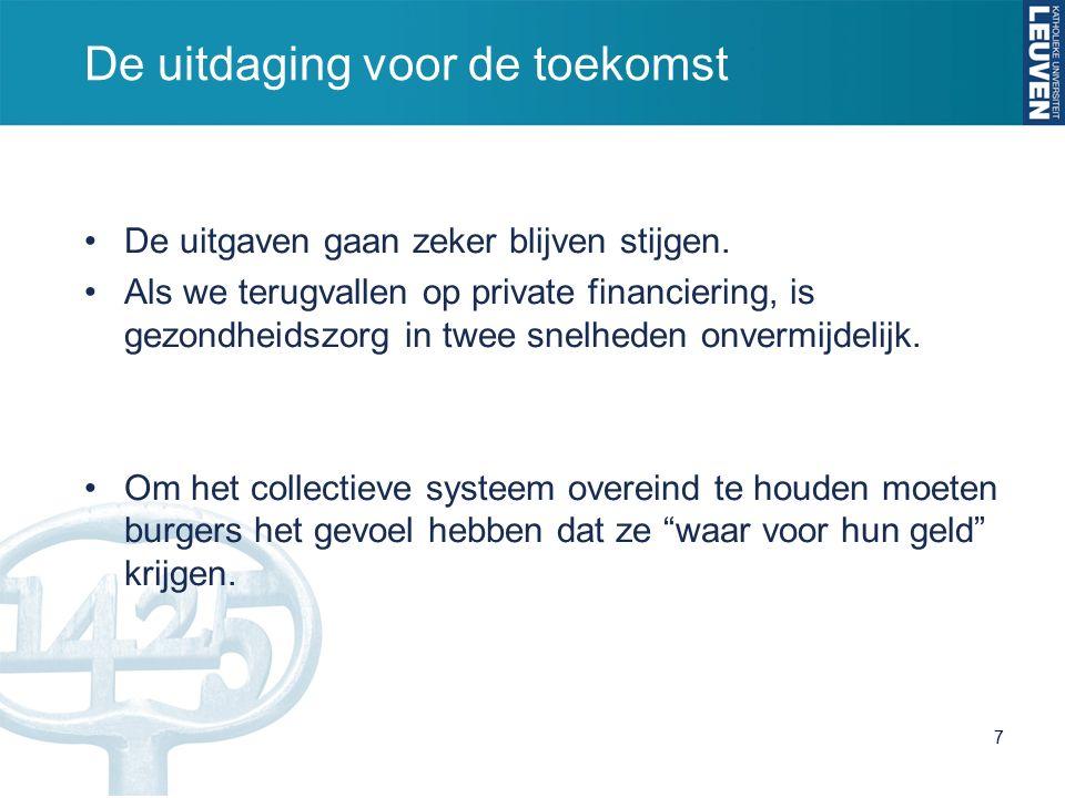 De uitdaging voor de toekomst De uitgaven gaan zeker blijven stijgen.