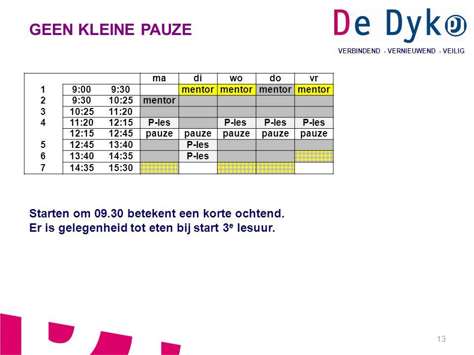 13 VERBINDEND - VERNIEUWEND - VEILIG GEEN KLEINE PAUZE Starten om 09.30 betekent een korte ochtend.